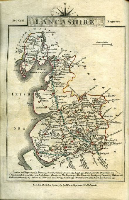 Lancashire County Map by John Cary 1790 - Reproduction